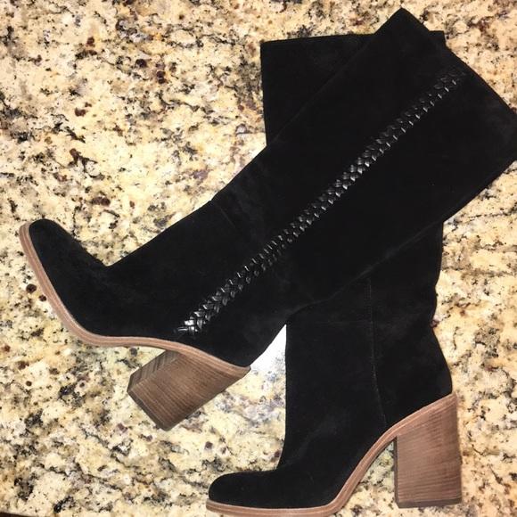 a0f6e11170a Women's UGG Maeve Suede Block Heel Black Boots